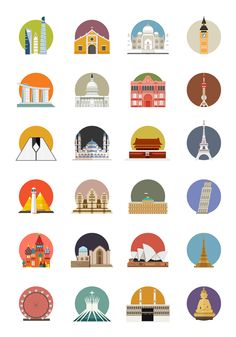 XL - Bebas Liburan Campaign by Tommy Chandra, via Behance Design Ios, Icon Design, Logo Design, Flat Design, Graphic Design, City Icon, Architecture Logo, Travel Icon, Skyline Art