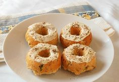savory baked donuts - Scallion Donuts with Goat Cheese Frosting