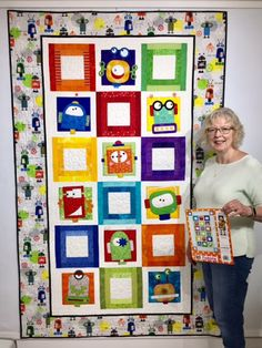 Robots Quilt Pattern includes instructions, full-size patterns, and placement sheets to make the x wallhanging version, 60 x 96 twin quilt version, and 13 x pocket organizer. The technique is fusible applique. Pocket Organizer, Twin Quilt, Robots, Quilt Patterns, Amy, Applique, Quilts, How To Make, Kids