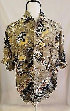 Mens Munsingwear Short Sleeve Hawaiian Shirt Size Medium Village Pattern | eBay Shopping