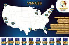 Las 10 sedes donde se jugará la Copa América Centenario 2016.