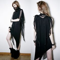 Designer Black Asymmetrical Maxi Long Gothic Fashion Dresses Women SKU-11402759