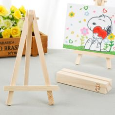 5pcs 8*15cm Mini Artist Wooden Easel Wedding Table Card Stand Display Holder - Wedding Look
