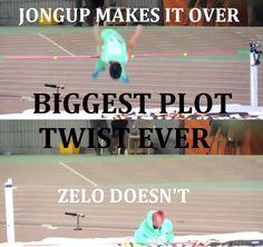 oh Zelo at least you tried lol Jongup good job! Kim Himchan, Youngjae, Bap Zelo, Bap Funny, Oh The Irony, Bang Yongguk, Drama Funny, Jung Daehyun, Meme Center