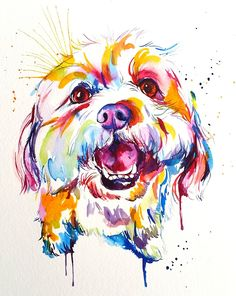 Image of LARGE Custom Watercolor Splash Pet Portrait on PAPER