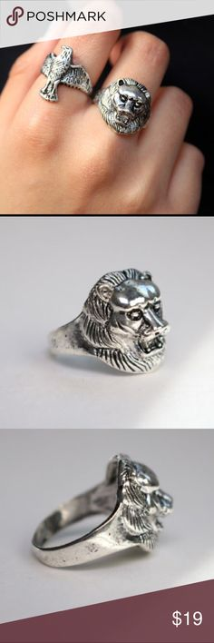 Antique Silver Boho Lion Ring. Antique Silver Lion Ring.  Size: 10 Jewelry Rings