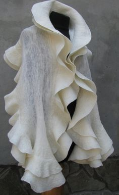 Nuno felted ivory stole cape capelet shawl and flower by ProninA, $228.00