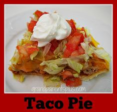 Here's a different way to serve tacos for lunch or dinner. Taco Pie has the great taste of a taco, but is served as a pie. Just like a taco, compliment it with sour cream and salsa.