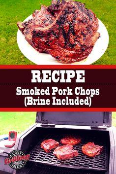 Smoked Pork Chops Recipe (Brine Recipe Included) – Famous Last Words Pork Chop Brine Recipes, Pork Brine Recipe, Pellet Grill Recipes, Pork Rib Recipes, Smoked Meat Recipes, Chops Recipe, Smoked Pork Butt Rub Recipe, Recipe Recipe, Egg Recipes