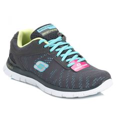 Skechers Womens Charcoal Flex Appeal First Glance Trainers