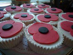 poppy cakes (For Anzac day) Baking Recipes, Cake Recipes, Baking Ideas, Poppy Cake, Fab Cakes, Remembrance Poppy, Types Of Cakes, Novelty Cakes, Celebration Cakes