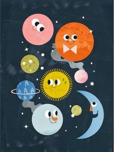#Monde und #Planeten tolle #Illustration für das #Kinderzimmer!