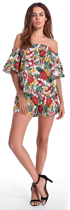 US$ 27.32 Bohemian Women Floral Printed Shirt Shorts Suit Set Holiday Clothing Set
