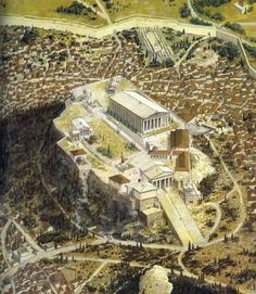 The Acropolis of Athens as it would have appeared in the classical (ca. 420 BC) period. The Acropolis was destroyed by the Persians in 490 BC and rebuilt to even greater levels of splendor. Visible are the famous Parthenon, Erechtheion, and Propylaia.