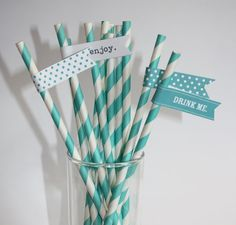 Love these!   25 Aqua Stripe Paper Straws with free by ProjectPrettyStudio, £4.50