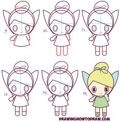 Learn How to Draw Cute, Baby-ish (Kawaii / Chibi Style) Tinkerbell - the Disney Fairy in Simple Steps Drawing Lesson for Kids