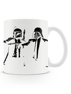 Caneca Pulp Wars | Uma loja de caneca  #starwars #mugs #canecas #pulpfiction #coffee #cafe #bobbafeet #darthvader