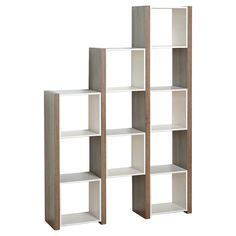 The bookcase with a reclaimed finish look/white is way to keep everything organized and your space clutter free. The unit features seven enclosed cubes and open shelving to display photos, collectibles and books. You will love the versatility of this piece place against the wall or use as a room divider. Cube dimensions: 13 inches high x 12.8 inches wide x 10.5 inches deep.