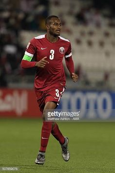 Abdelkarim Hassan of Qatar during the AFC U23 Championship 3rd/4th Playoff match between Iraq and Qata at the Jassim Bin Hamad Stadium on January 29...