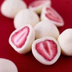 Frozen Yogurt Covered Strawberries   1 container Vanilla Yogurt (Use Greek Yogurt because it's thicker)  Fresh ripe strawberries   Slice strawberries in half. Spoon Greek yogurt onto a shallow dish and dip the strawberries in the yogurt. Place dipped strawberries in a plastic container lined with parchment paper and freeze.