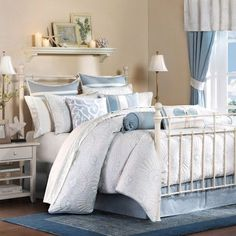 Create a relaxed coastal escape in your beach bedroom with the Crystal Beach collection featuring an all over quilted comforter with layers of sea shells.
