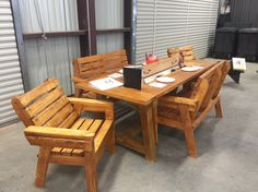 Everything you need to build a beautiful outdoor furniture set like this can be purchased at your local McCoy's Building Supply. www.mccoys.com Outdoor Chairs, Outdoor Furniture Sets, Outdoor Decor, Roofing Supplies, Diy Furniture Building, Building Materials, Entertainment Center, Woodworking, Diy Projects