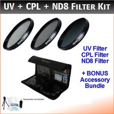 UltraPro Bundle Includes: Cleaning Kit LCD Screen Protector 72mm Digital Pro High-Resolution ND8 Filter Kit with Deluxe Filter Carry Case for Select Canon Lenses UV, CPL, ND8 Mini Tripod