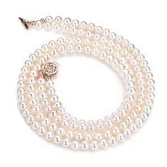 "17/"" 5.5-6mm Blanc eau douce collier de perles AAA"