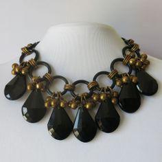 Vtg 1940's Victorian Revival Black Art Glass HUGE Dangle Cluster Bib Necklace