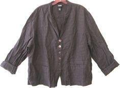 EILEEN FISHER Linen Blazer Shirt Jacket Brown Slub Mandarin Stand Collar Plus 1X #EileenFisher #Blazer