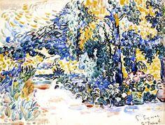 The Garden of the Artist's House, Saint Tropez- Paul Signac French 1863-1935