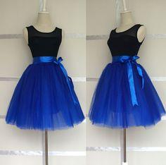"Classic Royal Blue 8 Layers Skirts Womens Princess Tutu Tulle Skirt Bridesmaids Ball Gown Saias Femininas Jupe length 20"""