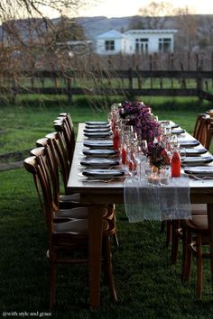 Vineyard dinner party - cheesecloth as table runner