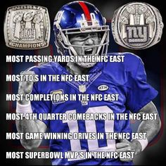 How can anyone say Eli isn't one of the ELI-tes? New York Teams, New York Giants Football, New England Patriots Football, My Giants, Steelers Football, Football Memes, Sports Memes, Ny Yankees, Football Season