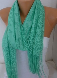 ON SALE  Mint Tulle Scarf  Shawl Women Scarf Cowl by fatwoman