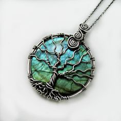 Labradorite Tree of life pendant, 925 Sterling silver