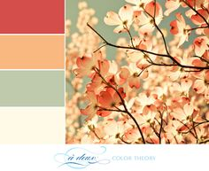 The saturated red and peach work well next to the muted green and ivory in this color palette. Spring weddings, this is your scheme! It also has a bit of an Americana feel going on, so I can even see this as a July wedding theme. What do you think?