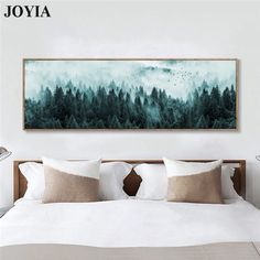 Nordic Minimalist Foggy Pine Forest Canvas Wall Art Dark Landscape Misty Trees Painting Large Living Room Bedroom Bedside Decor - Nordic Art – Page 50 – Wall Canvas Corner - Living Room Bedroom, Bedroom Decor, Living Room Wall Art, Bed Room, Wall Art Bedroom, Bedroom Canvas, Bedroom Art Above Bed, Dark Bedroom Walls, Quirky Bedroom
