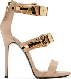 Giuseppe Zanotti Nude Pink Leather Coline Stiletto Sandals.