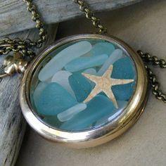 Beach glass locket