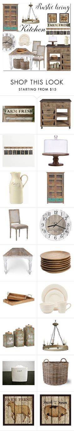 """""""Rustic kitchen"""" by rachelbarkhodesigns ❤ liked on Polyvore featuring interior, interiors, interior design, home, home decor, interior decorating, NKUKU, Magnolia Home, Tag and Garden Trading"""