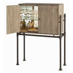 Arteriors Home Solomon Acacia Veneer Solids Bar With Patina Stand Furniture Bars For