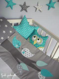 tour de lit et gigoteuse BIRDS gris/bleu(modèle déposé) : Linge de lit enfants par guiligribouilli