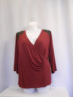 AGB Burgundy 3/4 Sleeves Faux Leather Shoulder Trim Knit Top Plus Size 3X #AGB #KnitTop #Career