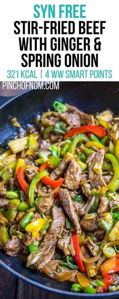 Syn free stir fried beef with ginger and spring onion pinch of nom slimming world recipes 321 kcal syn free 4 weight watchers smart points 25 delicious slimming world dinner recipes Slimming World Stir Fry, Slimming World Beef Recipes, Slimming World Fakeaway, Slimming World Dinners, Slimming World Diet, Slimming Eats, Healthy Eating Tips, Healthy Nutrition, Nutrition Tips
