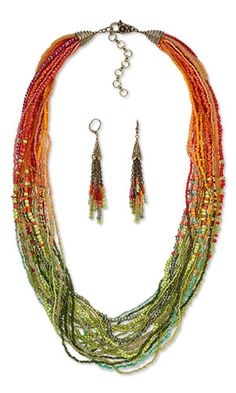 Multi-Strand Necklace and Earring Set with Seed Beads