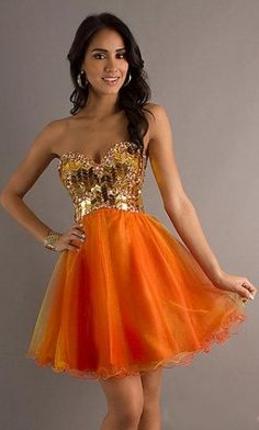 Orange Prom Dresses Short Open Back