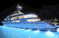 You must have amazing underwater lights to showcase your yacht - beautiful Jet Ski, Lurssen Yachts, Sports Nautiques, Underwater Lights, Yacht Interior, Interior Design, Yacht Boat, Private Jet, Water Crafts