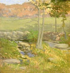 """""""Summer Landscape with Creek,"""" Willard L. Metcalf, 1911, oil on canvas board, 15-3/4 x 14-7/8"""", private collection."""