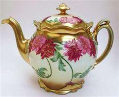 Vintage Austrian Pink Dahlia Teapot by auntlettuce on Etsy